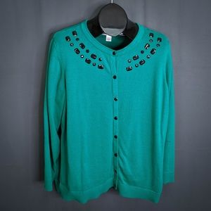 CJ Banks Sweater Size 2X Green Women Plus Cardigan